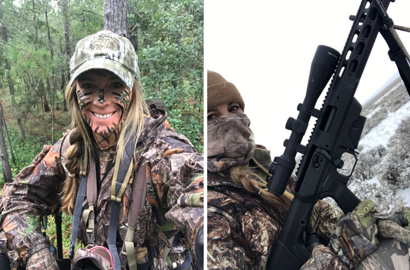 Female hunter in camo face paint and Face Mask