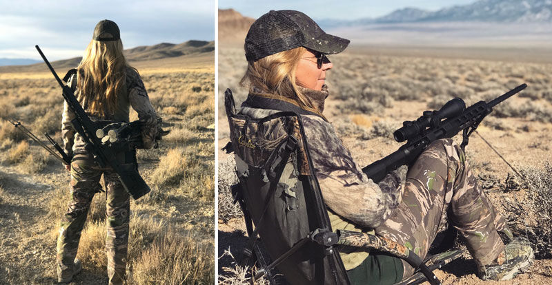 Female hunter in camo Hunting Pants