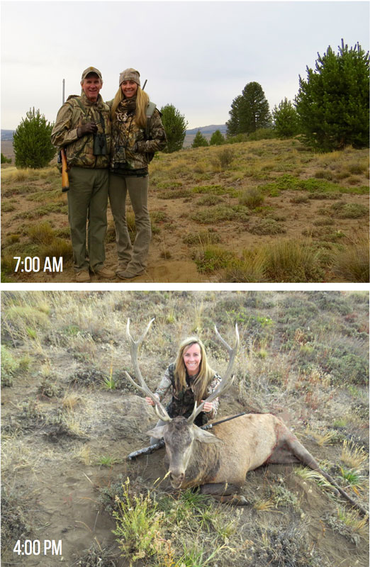 Female hunter in Morning and Afternoon Layers