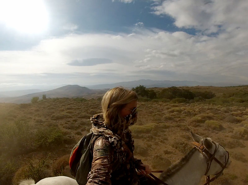 How to Hire a Hunting Guide or Outfitter - Woman in camo riding a Patagonia Horse on a hunt