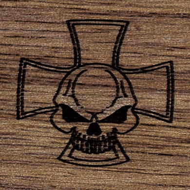 Gunstock Engraving Skull Cross