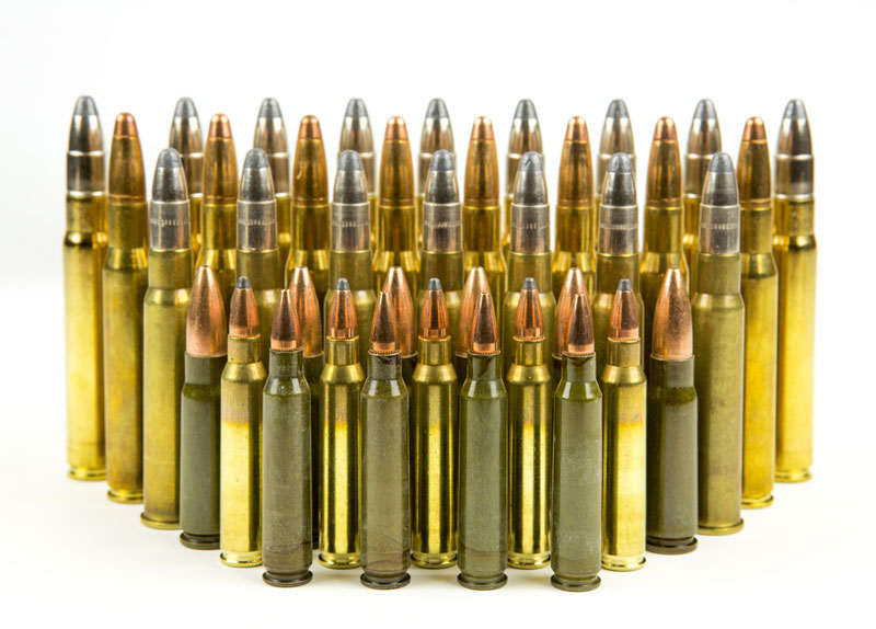 Assortment of various rifle cartridges