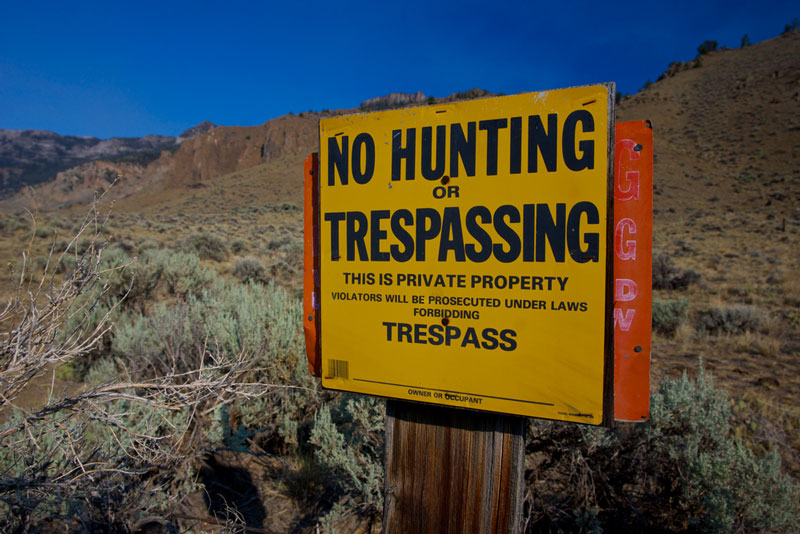 No hunting or trespassing sign posted by field