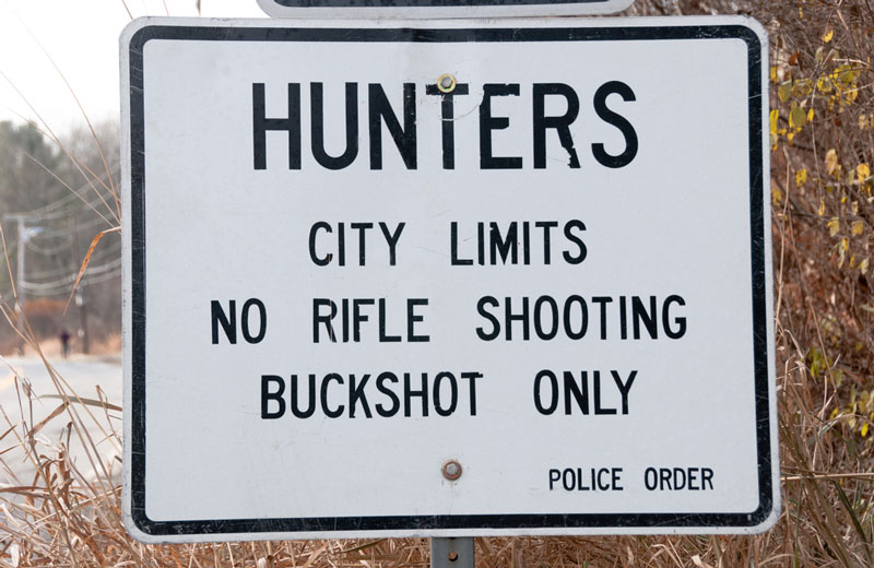 Hunter notification sign posted in at city limits