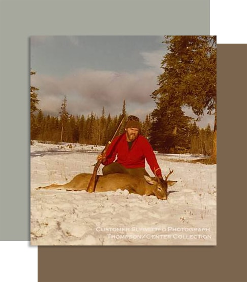 Thompson Center Rifle Hunter with Deer